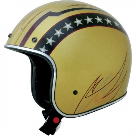 CASCO HOMOLOGADO MULTI COLOR LINE GRAPHIC GOLD METAL FLAKE